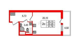 Квартира в ЖК «Чистое небо», студия, 30.28 м², 2 этаж