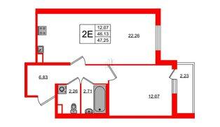 Квартира в ЖК ЯСНО.ЯНИНО, 1 комнатная, 46.13 м², 1 этаж