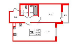 Квартира в ЖК ЯСНО.ЯНИНО, 1 комнатная, 45.54 м², 4 этаж