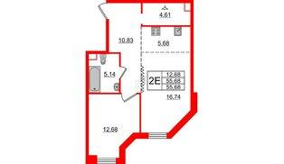 Квартира в ЖК Альтер, 1 комнатная, 55.68 м², 9 этаж