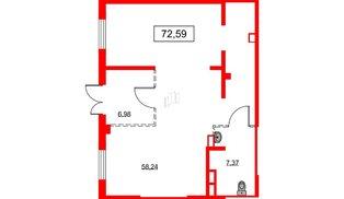 Помещение в ЖК PROMENADE, 72.59 м², 1 этаж