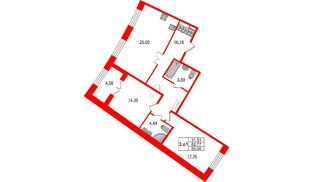 Квартира в ЖК GRAND VIEW, 2 комнатная, 82.77 м², 3 этаж