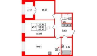 Квартира в ЖК GRAND VIEW, 2 комнатная, 64.9 м², 3 этаж