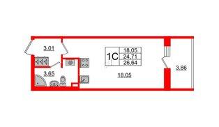 Квартира в ЖК «Солнечный город», студия, 24.71 м², 2 этаж