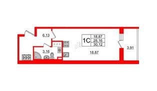 Квартира в ЖК «Солнечный город», студия, 28.16 м², 8 этаж