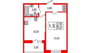 Квартира в ЖК «Солнечный город», 1 комнатная, 36.13 м², 3 этаж