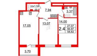 Квартира в ЖК «Солнечный город», 2 комнатная, 56.97 м², 6 этаж