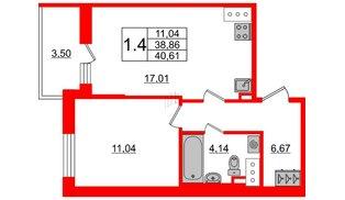 Квартира в ЖК «Солнечный город», 1 комнатная, 38.86 м², 2 этаж