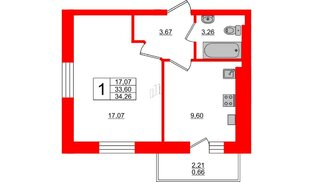 Квартира в ЖК Олимпия-13, 1 комнатная, 34.26 м², 5 этаж