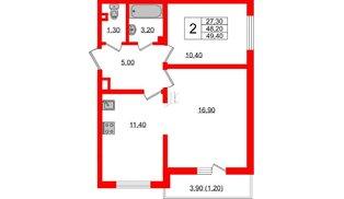Квартира в ЖК Заповедный парк, 2 комнатная, 49.4 м², 3 этаж