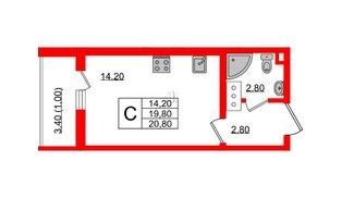 Квартира в ЖК Заповедный парк, студия, 20.8 м², 17 этаж