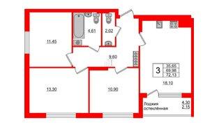 Квартира в ЖК Стерео-3, 3 комнатная, 72.13 м², 4 этаж