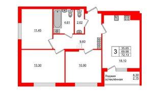 Квартира в ЖК Стерео-3, 3 комнатная, 72.13 м², 15 этаж