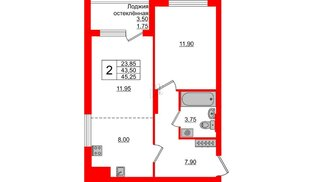 Квартира в ЖК Стерео-3, 2 комнатная, 45.25 м², 2 этаж