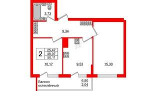 Квартира в ЖК Стерео-3, 2 комнатная, 50.11 м², 13 этаж