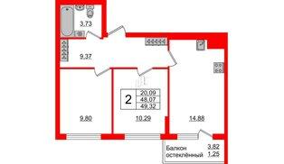 Квартира в ЖК Стерео-3, 2 комнатная, 49.32 м², 2 этаж