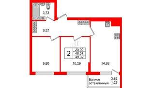 Квартира в ЖК Стерео-3, 2 комнатная, 49.32 м², 6 этаж
