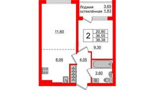 Квартира в ЖК Стерео-3, 2 комнатная, 38.38 м², 3 этаж