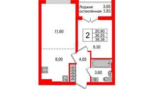 Квартира в ЖК Стерео-3, 2 комнатная, 38.38 м², 8 этаж