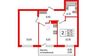 Квартира в ЖК Стерео-3, 2 комнатная, 48.79 м², 15 этаж