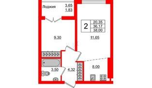 Квартира в ЖК Стерео-3, 2 комнатная, 38 м², 12 этаж
