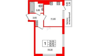 Квартира в ЖК Стерео-3, 1 комнатная, 39.78 м², 5 этаж