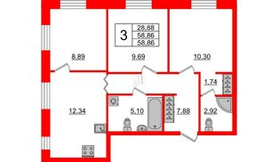 Квартира в ЖК ID Park Pobedy, 3 комнатная, 58.86 м², 2 этаж