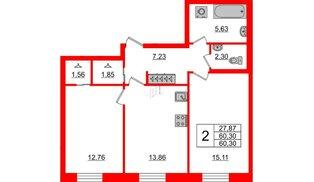 Квартира в ЖК ID Park Pobedy, 2 комнатная, 60.3 м², 2 этаж