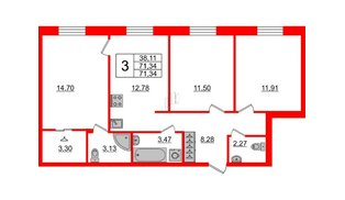 Квартира в ЖК ID Park Pobedy, 3 комнатная, 71.34 м², 2 этаж