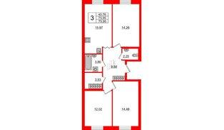 Квартира в ЖК ID Park Pobedy, 3 комнатная, 75.95 м², 2 этаж