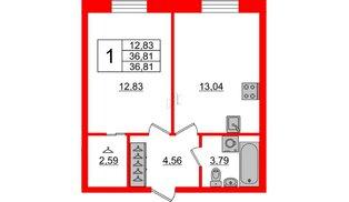 Квартира в ЖК ID Park Pobedy, 1 комнатная, 36.81 м², 2 этаж
