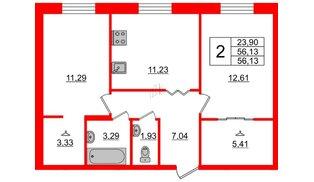 Квартира в ЖК ID Park Pobedy, 2 комнатная, 56.13 м², 2 этаж