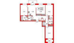 Квартира в ЖК ID Park Pobedy, 4 комнатная, 96.78 м², 9 этаж