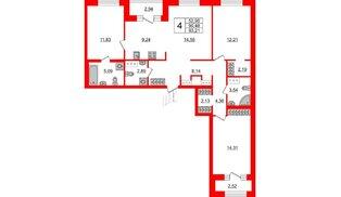 Квартира в ЖК ID Park Pobedy, 4 комнатная, 93.21 м², 10 этаж