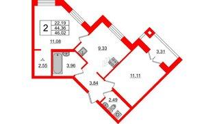 Квартира в ЖК ID Park Pobedy, 2 комнатная, 46.02 м², 2 этаж