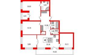 Квартира в ЖК ID Park Pobedy, 4 комнатная, 88.19 м², 9 этаж