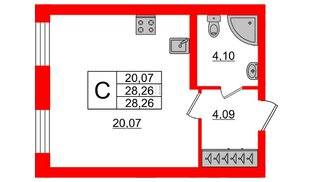 Квартира в ЖК ID Park Pobedy, студия, 28.26 м², 2 этаж