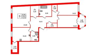 Квартира в ЖК Grand House, 3 комнатная, 113.76 м², 2 этаж