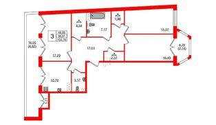 Квартира в ЖК Grand House, 3 комнатная, 103.76 м², 7 этаж