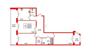 Квартира в ЖК Grand House, 3 комнатная, 89.69 м², 7 этаж