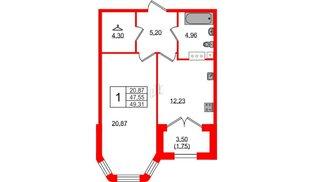 Квартира в ЖК Grand House, 1 комнатная, 49.31 м², 4 этаж