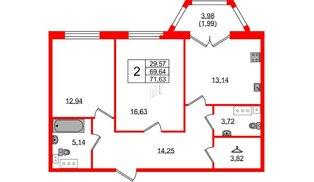Квартира в ЖК Grand House, 2 комнатная, 71.63 м², 2 этаж