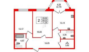 Квартира в ЖК Grand House, 2 комнатная, 71.36 м², 7 этаж