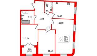 Квартира в ЖК Grand House, 3 комнатная, 88.22 м², 2 этаж