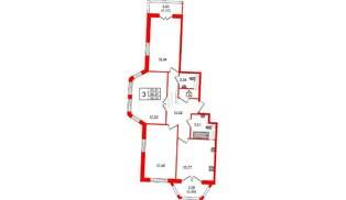 Квартира в ЖК Grand House, 3 комнатная, 92.03 м², 8 этаж