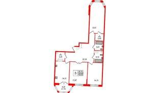 Квартира в ЖК Grand House, 3 комнатная, 104.83 м², 5 этаж