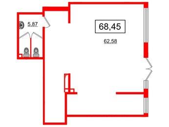 Аренда помещения в ЖК Чистое небо, 68.1 м²