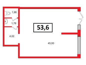 Аренда помещения в ЖК Чистое небо, 53.6 м², 1 этаж