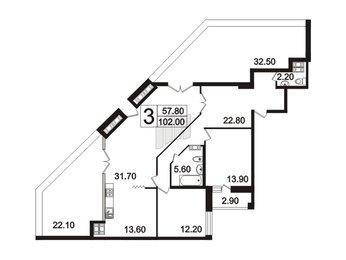 Квартира в ЖК «Четыре горизонта», 3 комнатная, 98.2 м², 10 этаж
