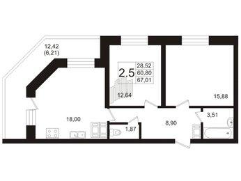 Квартира в ЖК «Пулковский», 2 комнатная, 62.9 м², 2 этаж